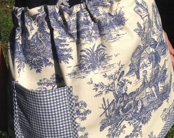 Blue/ Cream Toile Apron with pocket