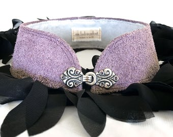 Purple Suede Leather Choker Collar Necklace with Ornate Victorian Hook and Eye Closure