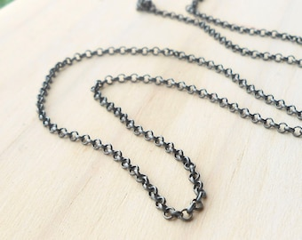 Oxidized Sterling Silver 2mm Rolo Chain, Finished Necklace Chain, Choose Length