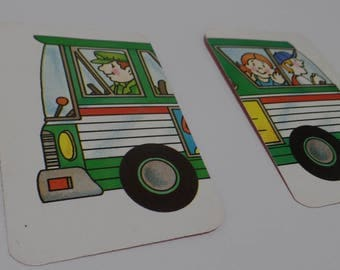 FREE SHIPPING Vintage Bus Playing Cards Set of 2
