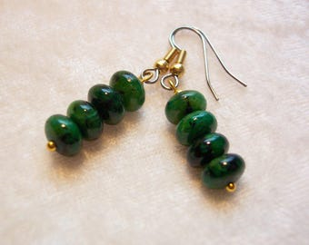 Green Earrings, Gold Wire, Green with Black Speckles, Clip on Available, Gift for Her