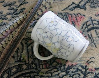 Handmade Ceramic Mug, Coffee Mug, Pottery Mug, Tea Mug, Hand Drawn Floral Pattern One of a Kind Cup, Artisan Pottery by Licia Lucas Pfadt