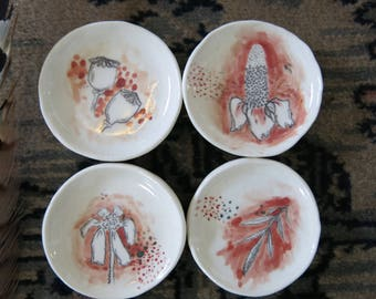 Set of 4 Tiny Ceramic Trinket Dishes Botanical Hand Drawn Fine Art One of a Kind Gift Home Decor, Handmade Pottery by Licia Lucas Pfadt