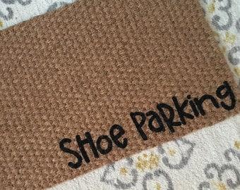 Shoe Parking Welcome Mat! Fun doormats for a shoe-free home!