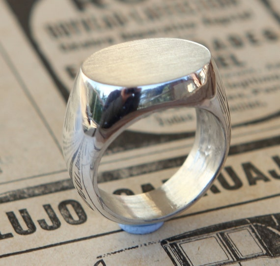 Modern Unisex Signet Ring Sterling Silver Ring Size 6.5