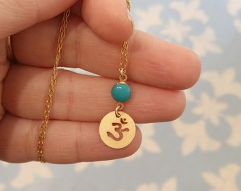 OHM Charm Necklace, Turquoise and Gold Necklace, Om Necklace, Spiritual Jewelry, OMKARA, Yoga Necklace, Meditation Jewelry, Om Pendant