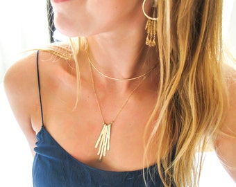 Gold Fringe Pendant - Hammered Gold Fringe Necklace - 14k Gold Fill Hammered Gold Necklace - Vertical Gold Strips - Rays Necklace