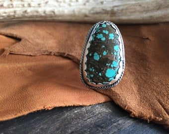Turquoise Ring, Sterling Silver Ring, Turquoise Jewelry, Southwest Jewelry, Large Turquoise Ring, Sterling Silver Ring, Bohemian Ring,