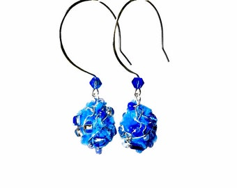 Blue Dangle Earrings, Blue Drop Earrings,  Fabric Earrings,  Fiber Art, Art Jewelry