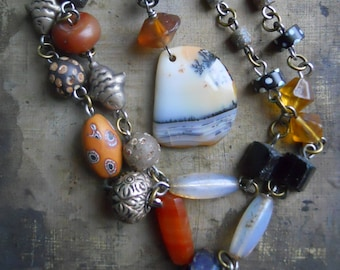 Sebago                    Antique Trade Bead Picture Agate Assemblage Necklace