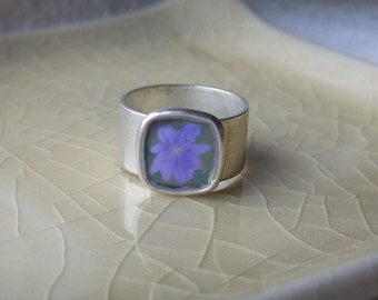 Three Oaks Purple Chicory - Adjustable Photograph Ring