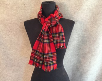 Vintage Tartan Scarf, Plaid Winter Scarf, Red, White Scottish Highland Muffler, Men's or Women's