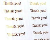 GOLD FOIL thank you! stickers - typewriter font thank you stickers for packaging, thank you cards, gifts