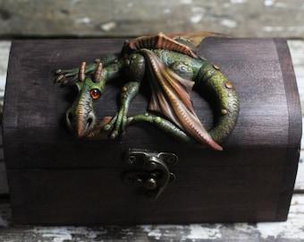 Dragon on  wooden treasure chest box