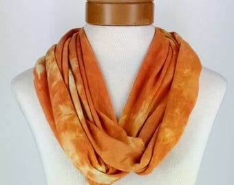 Infinity Scarf in Yellow and Orange, Bamboo Jersey Scarf, Hand Dyed Scarf, Neck Wrap