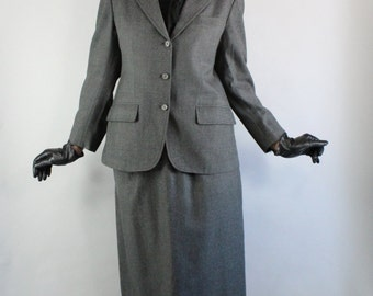 Skirt Suit, 80s does 40s, Brooks Brothers, WW2, Utility, Tailored, Gray, Grey, Wool Suit, Office, Professional, Minimal, Size Medium