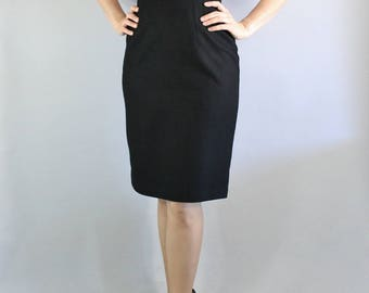 80s does 50s High Waisted Black Wool Pencil Skirt, Secretary, Office, Neutral, Basic, Knee Length, Sexy Skirt, vlv, Pinup, Marilyn, Small