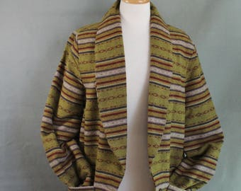 Vintage 90s Womens Moss Green Navajo Tribal Blazer Jacket, Spring Jacket, Casual Jacket, Southwest, Western Jacket, Size Large