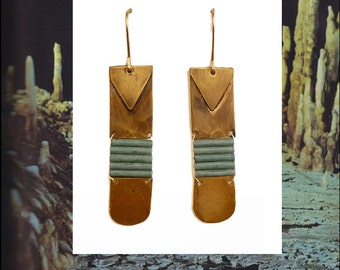 Blue Staircase earrings | Handformed brass with woven Japanese glass beads