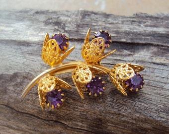 Faux Amethyst Filigree Floral Goldtone Vintage Brooch