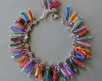 Tube Multicolor Furnace Glass, Cane Glass, Art Glass, Crystal, Dangle Charm Bracelet