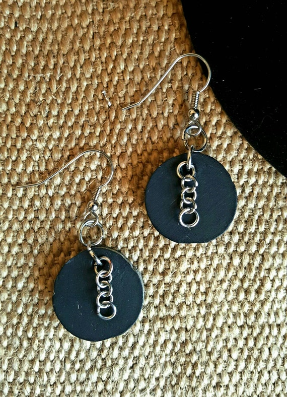 Hand Made Lightweight Black Round Leather Earring Set with Chains~ Silver Shepherd Hooks ~ Hand Dyed Earrings - Canadian Leather Jewelry