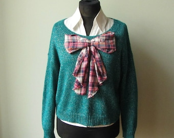 RESERVED Big Bow Sweater, Teal Blue Oversized Sweater, Upcycled Sweaters, Refashioned Clothing, Giant Plaid Bow, Teal Green Silver Lurex