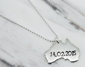 Australia necklace etsy personalised australia sterling silver necklace australia necklace silver australia pendant xmas australia aloadofball Images