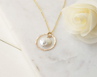 Freshwater Coin Pearl Pendant Necklace - 14k Gold Filled or Sterling Silver