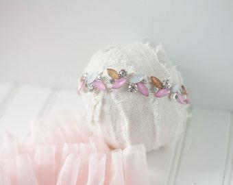 Pink silver gold tan rhinestone flower headband newborn