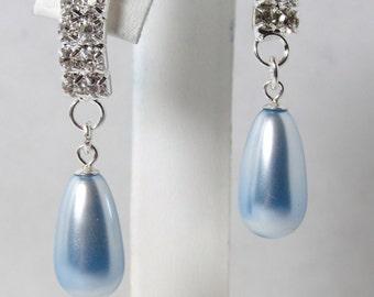 Pearl Rhinestone Earring, Swarovski Crystal Pearl Earring, Swarovski, Lt Blue Pearl, Bride, Wedding, Bridesmaid, Silver, Dangle, Rhinestone