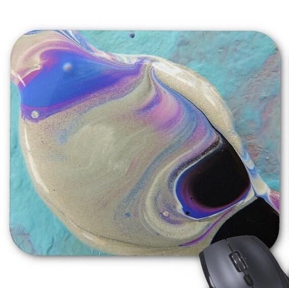 Mousepad Mouse Pad Fine Art Painting Abstract Silver Purple Black Fine Art Contemporary Modern Wet Paint Drops Macro Liquid Amber Lamoreaux