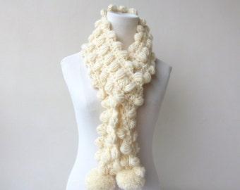 Cream Scarf Pompom Scarf Crochet Winter White Scarf  Unique Scarf Cream Winter Scarf