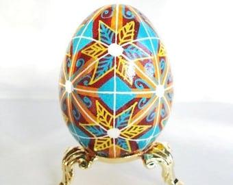 6 Stars a hand painted Pysanka Ukrainian Easter egg