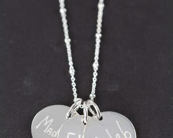 Handwriting Jewelry Engraved Name Necklace for Mom , 925 Sterling Silver