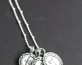 Initial Necklace , Mothers Day Gift , Personalized Jewelry for Mom , 925 Sterling Silver