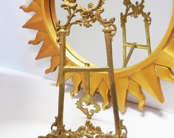 Vintage brass Easel art picture book stand holder Ornate metal Baroque Tall 17 inch easel