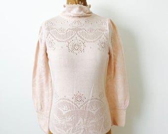 Vintage style pastel pink color turtleneck eyelet cotton top