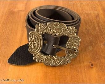 Fantasy leather belt  with brass buckle II, Dorian, larp, pirate, steampunk, renaissance
