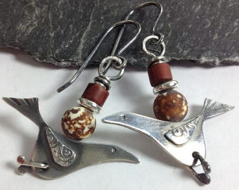 Silver bird earrings with jasper and agate