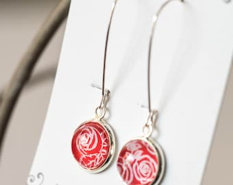 Red and White Roses nail polish earrings, hand painted round earrings, hypoallergenic, red earrings, Dangle Earrings Rose design