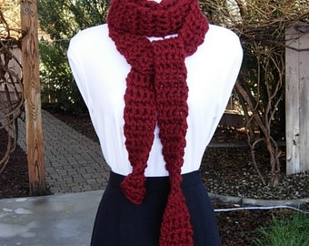 Extra Long & Skinny Scarf, Dark Solid Red, More Color Options, Soft Thick Crochet Knit Narrow Chunky Bulky Winter Womens Acrylic Neck Scarf