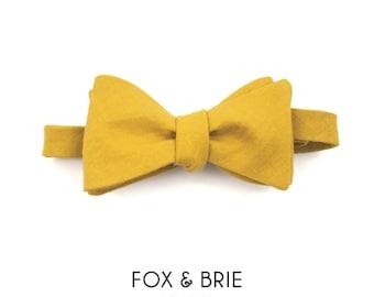 Mustard Linen Bow Tie