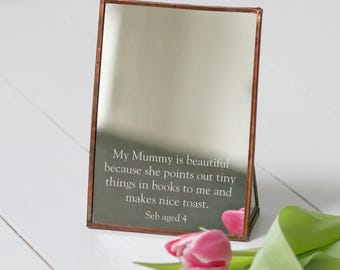 Personalised Copper Mother's Day Mirror | Gifts for Mum | Bespoke Present | Dressing Table | Laser etched | Gifts for Her | mothers day gift