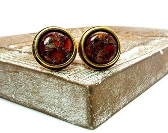 Red Fusion Cufflinks - Red Carnelian Copper Mohave Cufflinks – Red and Copper Cufflinks - Copper Mohave Carnelian Cufflinks