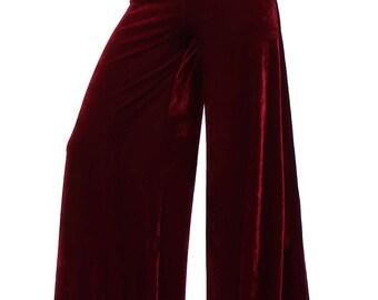 Basics Velvet Wide Leg Trousers - More Colours Available