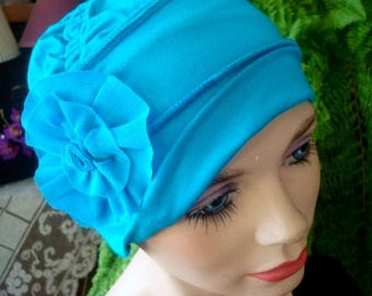Womens hat Chemo hat chemo headwear soft hat  turquoise headcover viscose knit
