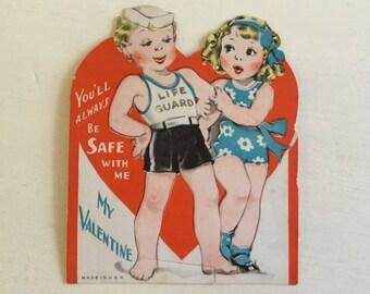 Vintage Valentine Card - Beach Valentine - Vintage Beach - Valentine's Day - Lifeguard - Love - Beach Art - Valentine Craft