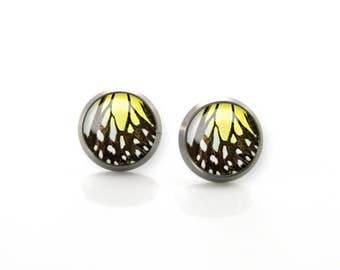 Titanium Earrings Yellow and Black Butterfly wing Hypoallergenic Earrings Stud | Titanium Earring Stud | Sensitive jewelry post studs
