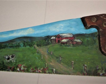 Painted Saw, Repurposed Saw, Hand Painted Saw, Farm Scene, New England Farm, Summer,  Cows, Painted Cows